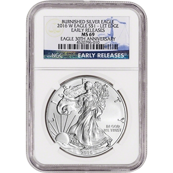 2016-W American Silver Eagle Burnished - NGC MS69 - Early Releases