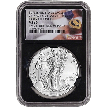 2016-W American Silver Eagle Burnished - NGC MS69 - Early Rel Purple Heart Black