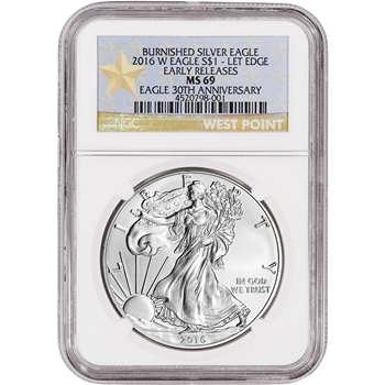 2016-W American Silver Eagle Burnished - NGC MS69 - Early Releases Star Label