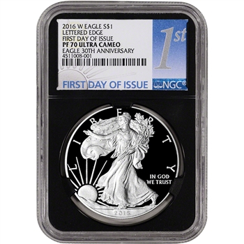 2016-W American Silver Eagle Proof - NGC PF70 UCAM First Day of Issue 1st Black