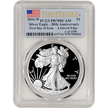 2016-W American Silver Eagle Proof - PCGS PR70 - First Day Issue 1 of 1500