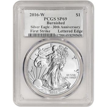 2016-W American Silver Eagle Burnished - PCGS SP69 - First Strike Silver Foil