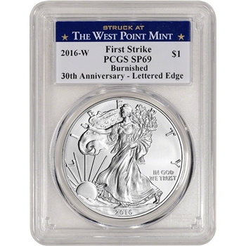2016-W American Silver Eagle Burnished - PCGS SP69 First Strike West Point Label