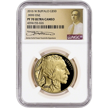 2016-W American Gold Buffalo Proof (1 oz) $50 - NGC PF70 - Fraser Label