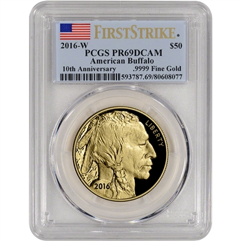 2016-W American Gold Buffalo Proof (1 oz) $50 - PCGS PR69 DCAM - First Strike