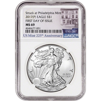 2017-(P) American Silver Eagle - NGC MS69 - First Day Issue - 225th Label