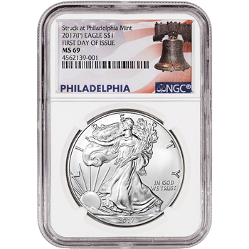 2017-(P) American Silver Eagle - NGC MS69 - First Day Issue - Liberty Bell Label