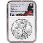 2017-(P) American Silver Eagle - NGC MS69 - Flag Label