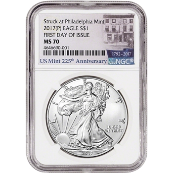 2017-(P) American Silver Eagle - NGC MS70 - First Day Issue - 225th Label
