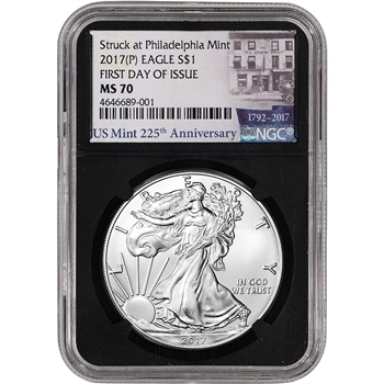 2017-(P) American Silver Eagle - NGC MS70 - First Day Issue - 225th Label Black