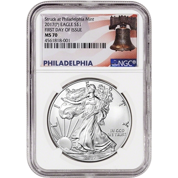 2017-(P) American Silver Eagle - NGC MS70 - First Day Issue - Liberty Bell Label