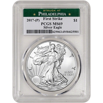 2017-(P) American Silver Eagle - PCGS MS69 - First Strike - Philadelphia Label