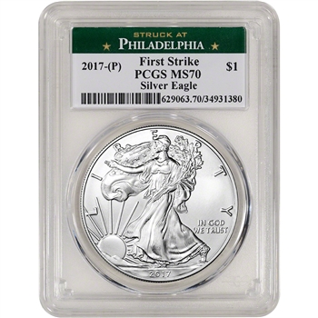 2017-(P) American Silver Eagle - PCGS MS70 - First Strike - Philadelphia Label
