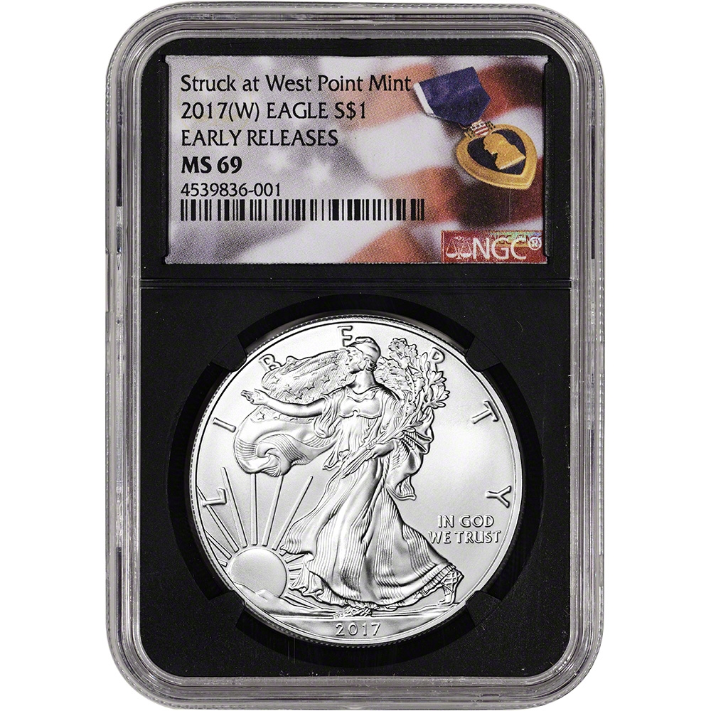 W NGC MS69 American Silver Eagle Purple Heart 2017- Early Releases