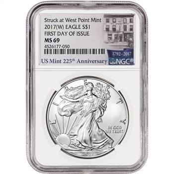 2017-(W) American Silver Eagle - NGC MS69 - First Day of Issue 225th Anniversary