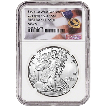 2017-(W) American Silver Eagle - NGC MS69 - First Day of Issue - Purple Heart