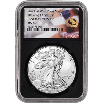 2017-(W) American Silver Eagle - NGC MS69 First Day of Issue Purple Heart Black
