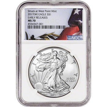 2017-(W) American Silver Eagle - NGC MS70 - Early Releases - Flag Label