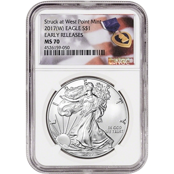 2017-(W) American Silver Eagle - NGC MS70 - Early Releases - Purple Heart