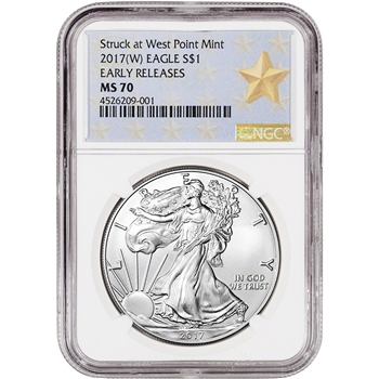 2017-(W) American Silver Eagle - NGC MS70 - Early Releases - Star Label