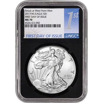 2017-(W) American Silver Eagle - NGC MS70 - First Day of Issue - 1st Label Black