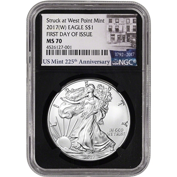 2017-(W) American Silver Eagle - NGC MS70 - First Day of Issue 225th Ann Black