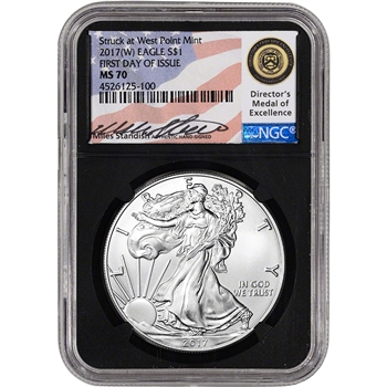 2017-(W) American Silver Eagle - NGC MS70 First Day of Issue Standish Black