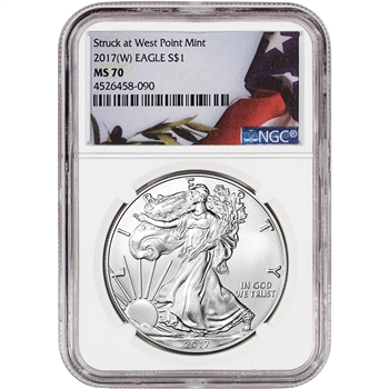 2017-(W) American Silver Eagle - NGC MS70 - Flag Label