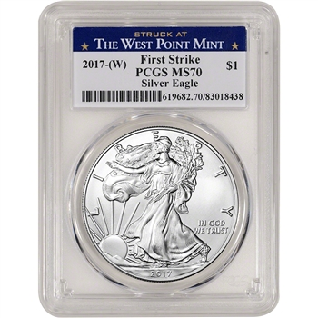 2017-(W) American Silver Eagle - PCGS MS70 - First Strike - West Point Label