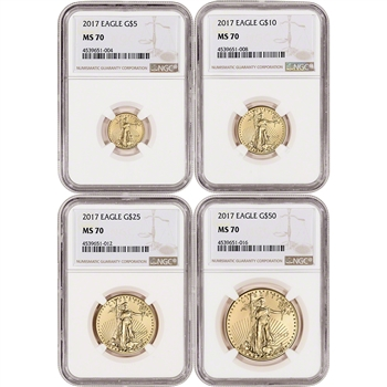 2017 American Gold Eagle 4-pc Year Set - NGC MS70