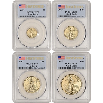 2017 American Gold Eagle 4-pc Year Set - PCGS MS70 - First Strike