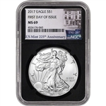 2017 American Silver Eagle - NGC MS69 - First Day Issue 225th Anniversary Black