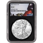 2017 American Silver Eagle - NGC MS69 - Flag Label Black