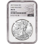 2017 American Silver Eagle - NGC MS70 - Early Releases - ALS Large Label
