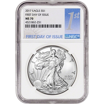 2017 American Silver Eagle - NGC MS70 - First Day of Issue - 1st Label