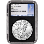 2017 American Silver Eagle - NGC MS70 - First Day of Issue - 1st Label Black