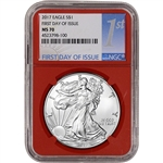2017 American Silver Eagle - NGC MS70 - First Day Issue 1st Label Red Holder