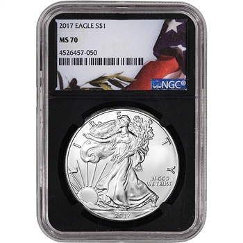 2017 American Silver Eagle - NGC MS70 - Flag Label Black