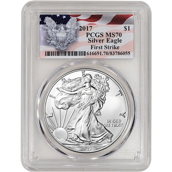2017 American Silver Eagle - PCGS MS70 - First Strike - Red Flag Label
