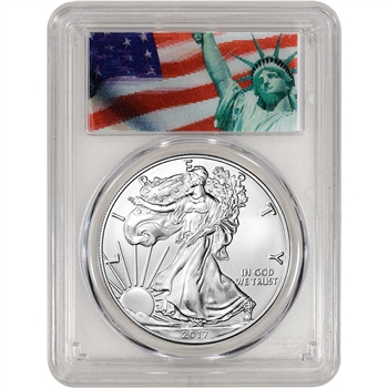 2017 American Silver Eagle - PCGS MS70 - First Strike - Statue of Liberty Label