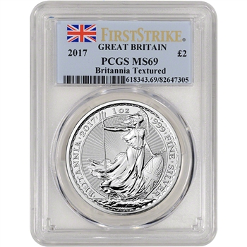 2017 Great Britain Silver Britannia (1 oz) ?2 - PCGS MS69 - First Strike