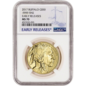 2017 American Gold Buffalo (1 oz) $50 - NGC MS70 - Early Releases - Large Label
