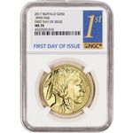 2017 American Gold Buffalo (1 oz) $50 - NGC MS70 - First Day of Issue 1st Label