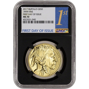 2017 American Gold Buffalo (1 oz) $50 - NGC MS70 First Day Issue 1st Label Black