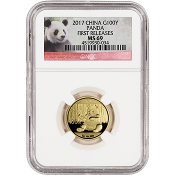 2017 China Gold Panda (8 g) 100 Yuan - NGC MS69 - First Releases - Panda Label