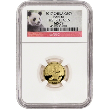 2017 China Gold Panda (3 g) 50 Yuan - NGC MS69 - First Releases - Panda Label