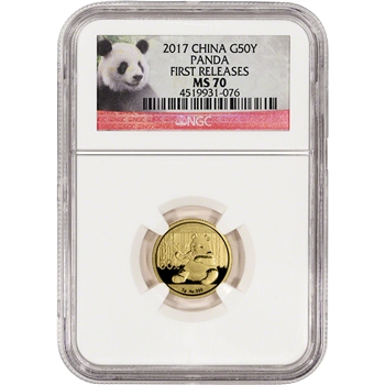2017 China Gold Panda (3 g) 50 Yuan - NGC MS70 - First Releases - Panda Label