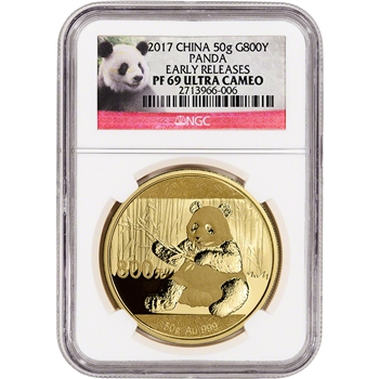2017 China Gold Panda Proof (50 g) 800 Yuan - NGC PF69 UCAM Early Releases Panda
