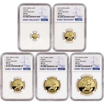 2017 China Gold Panda - 5-pc. Year Set - NGC MS70 - Early Releases