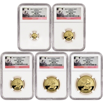 2017 China Gold Panda - 5-pc. Year Set - NGC MS70 - First Releases - Panda Label
